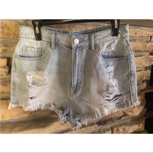 Urban outfitters distressed light denim shorts!